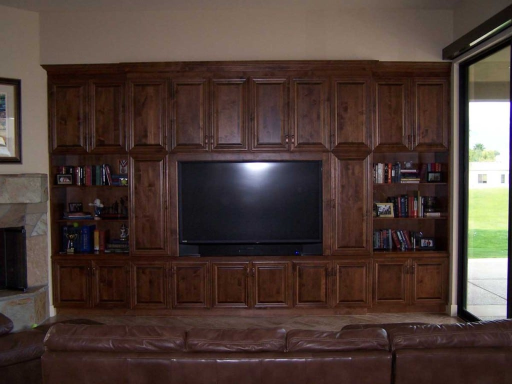 ALDER WOOD ENTERTAINMENT CENTER ~ DARK WALNUT STAIN