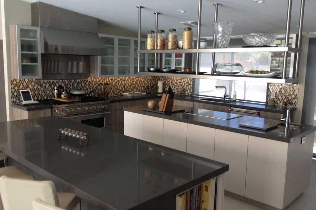 MODERN STAINLESS STEEL KITCHEN WITH WHITE FLAT PANEL DOORS ~ PALM SPRINGS